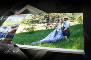 irish wedding book page with bride and groom in a beautiful green field quilt photographer luba wold moscow idaho