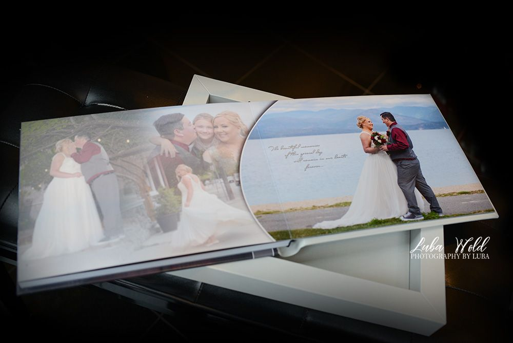 sandpoint wedding book page of first look bride and groom by Pend Oreille lake photographer luba wold