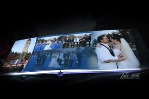 spokane wedding book page with bridal party by Riverfront park photographer luba wold and bride and groom in white tux