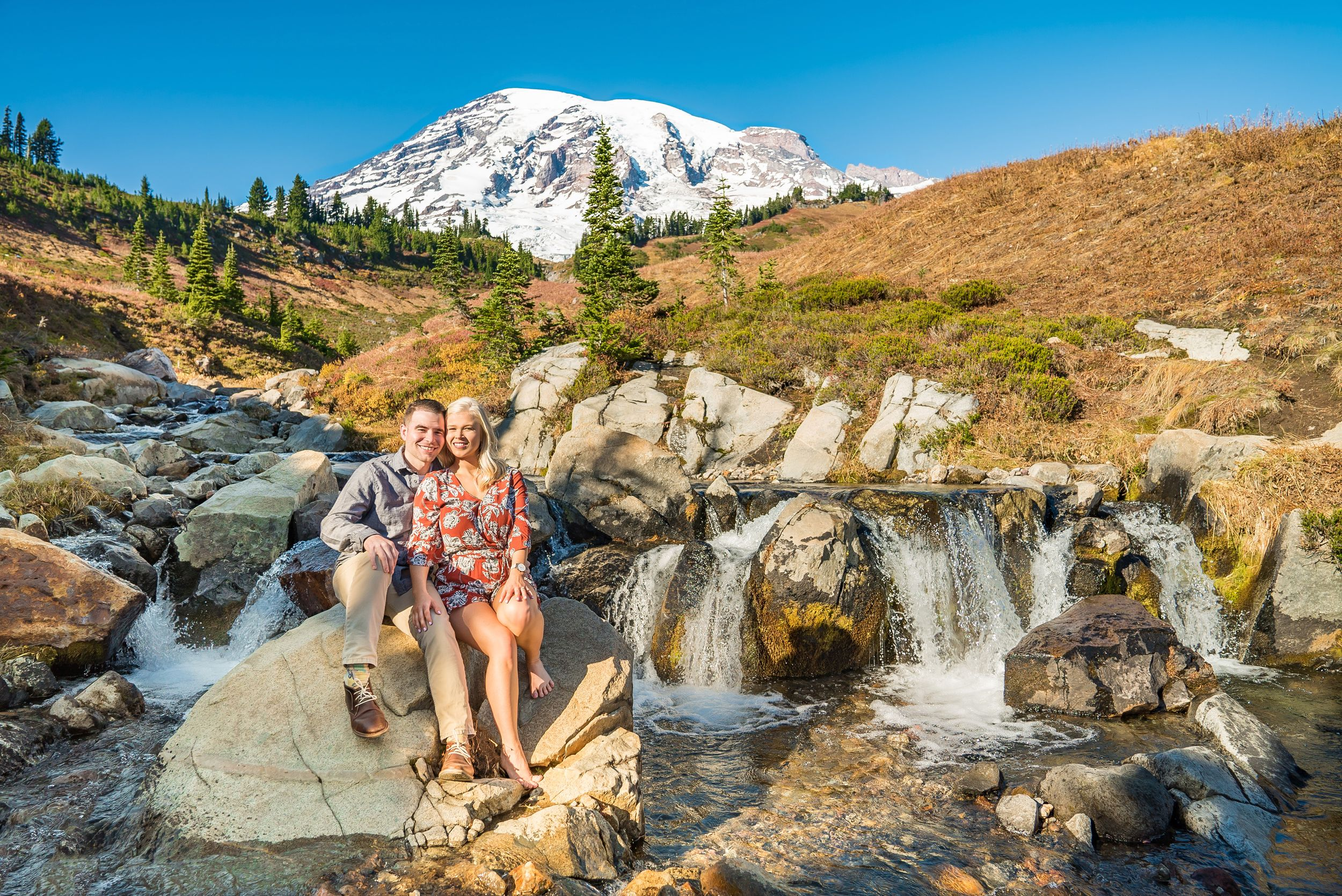 Barefoot portrait at Mt. Rainier - Engagement photography