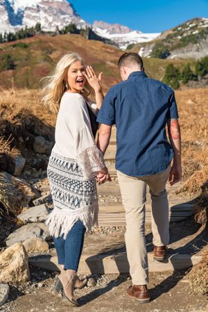 Showing off her ring - Engagement photography