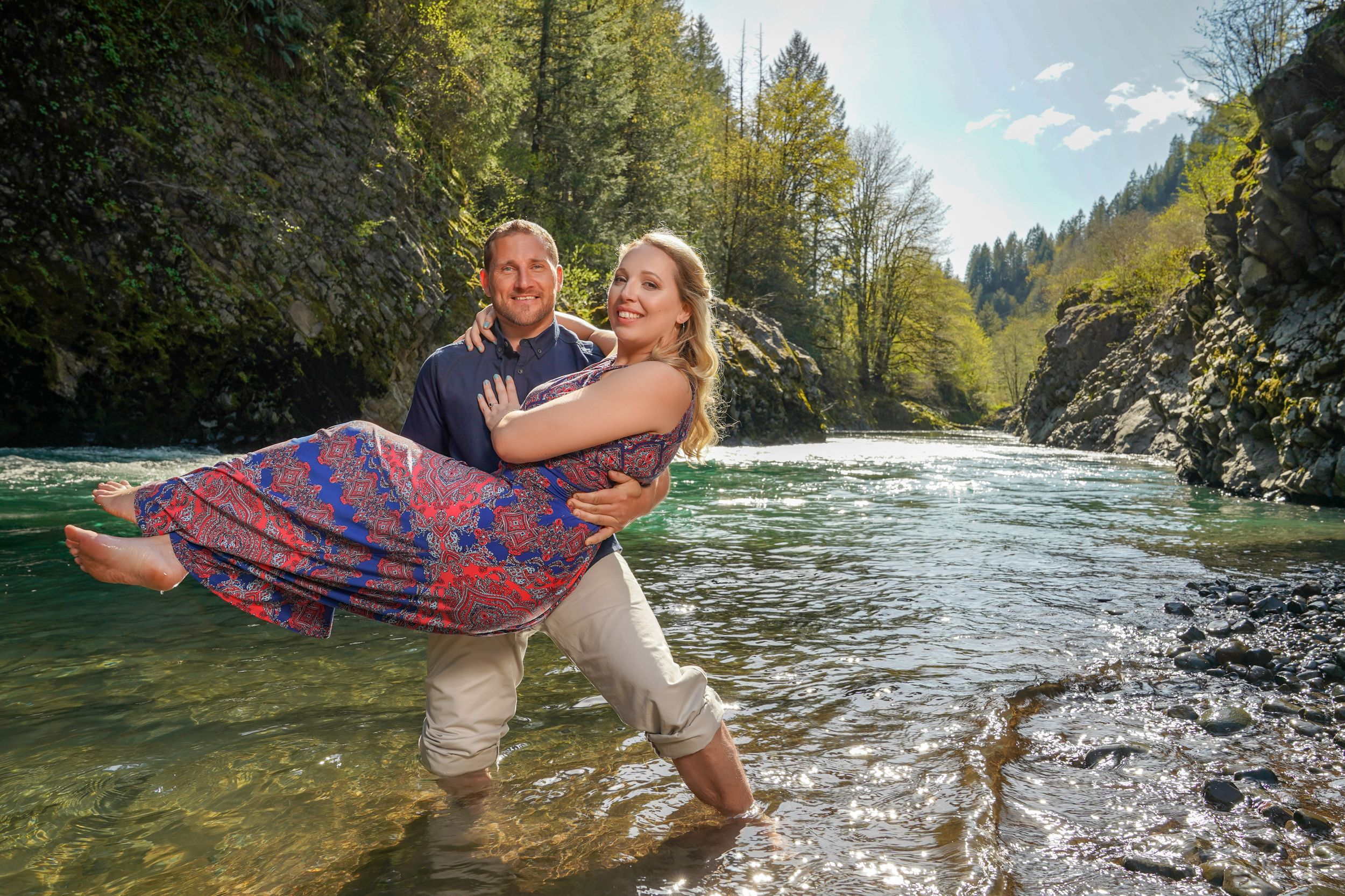 swept off her feet in the river - Engagement photography