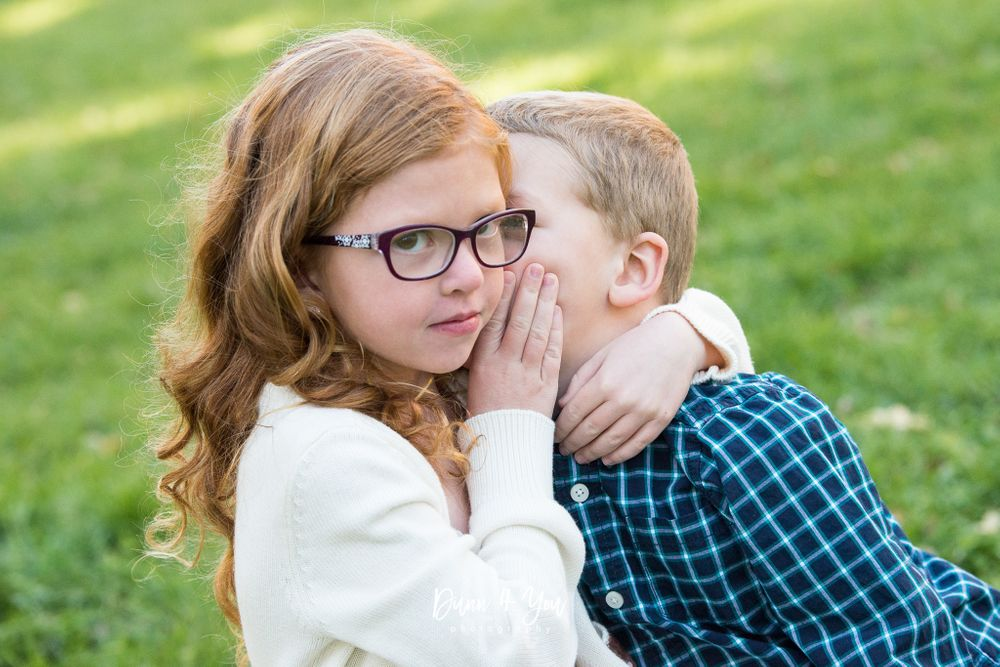 sibling boy and girl giggling photo session outdoor colorado springs