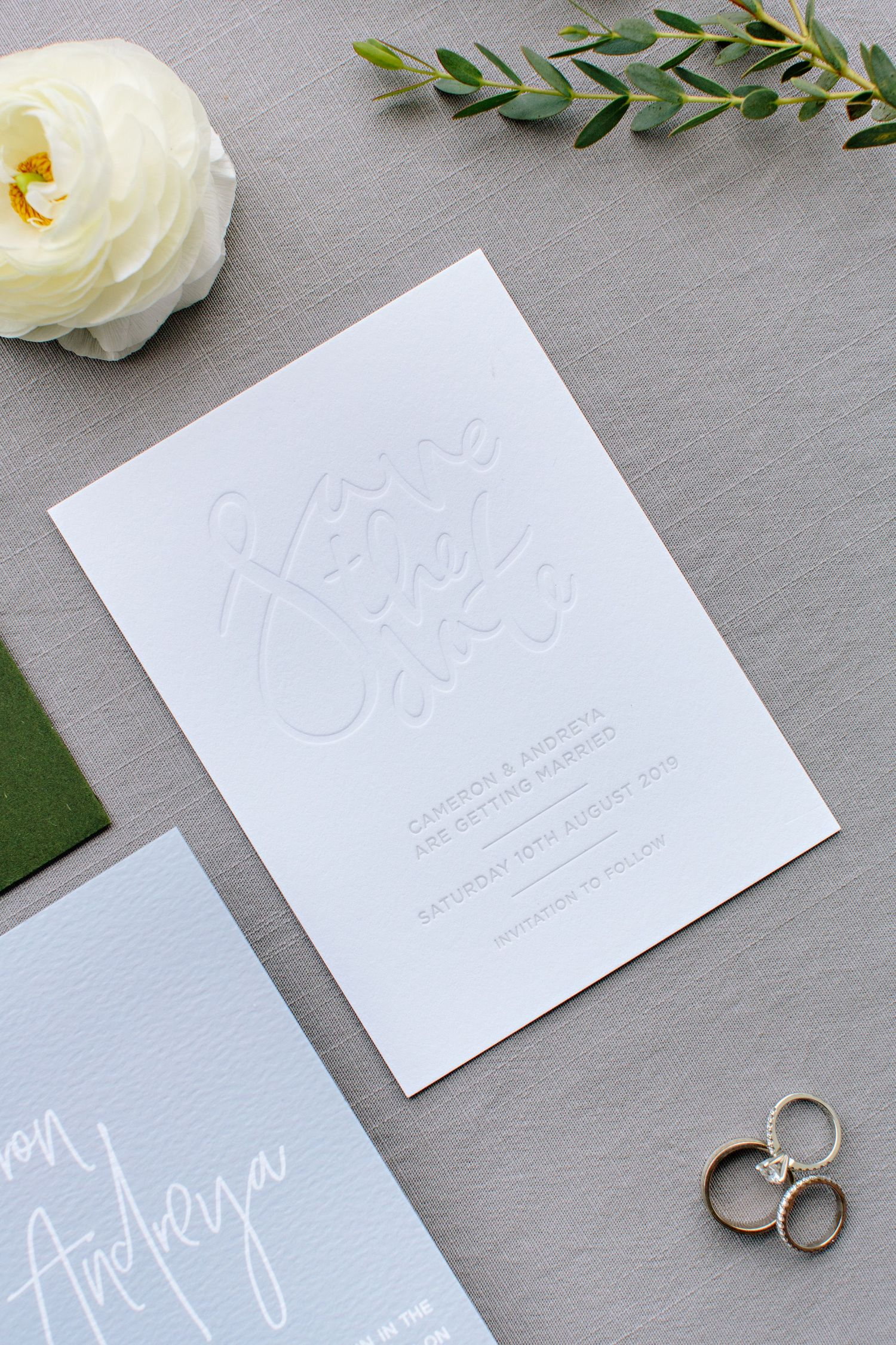 save the date embossed invitation