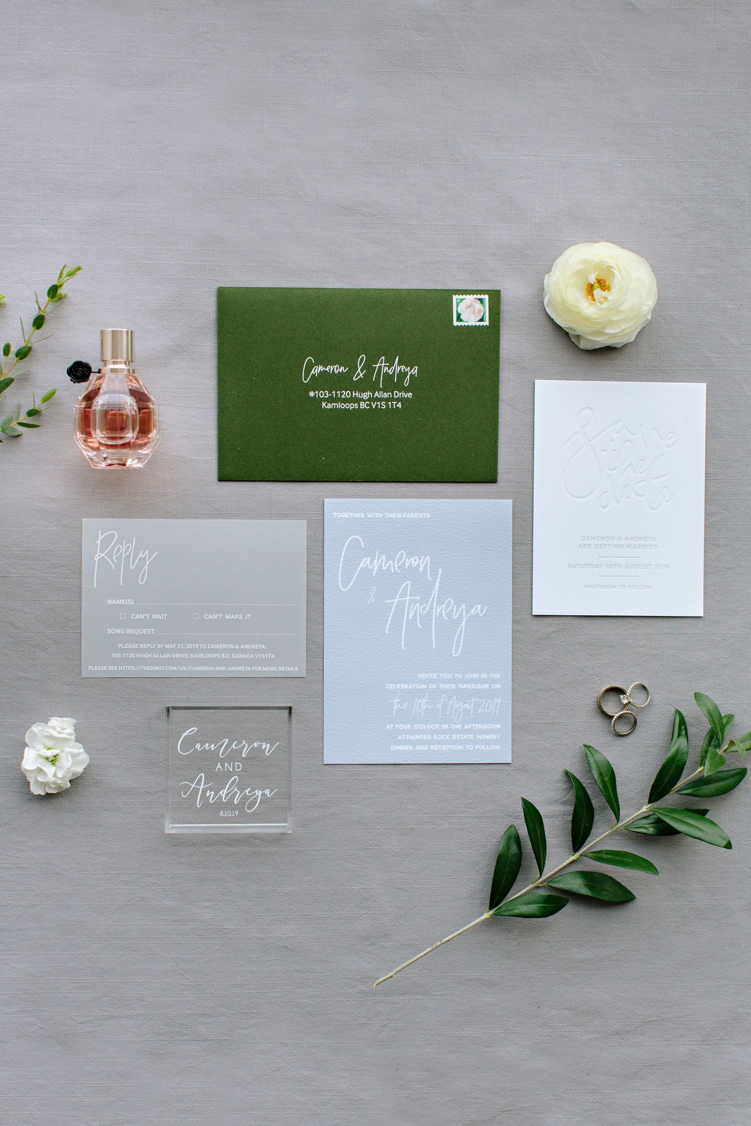 wedding stationary green and gray lay flat