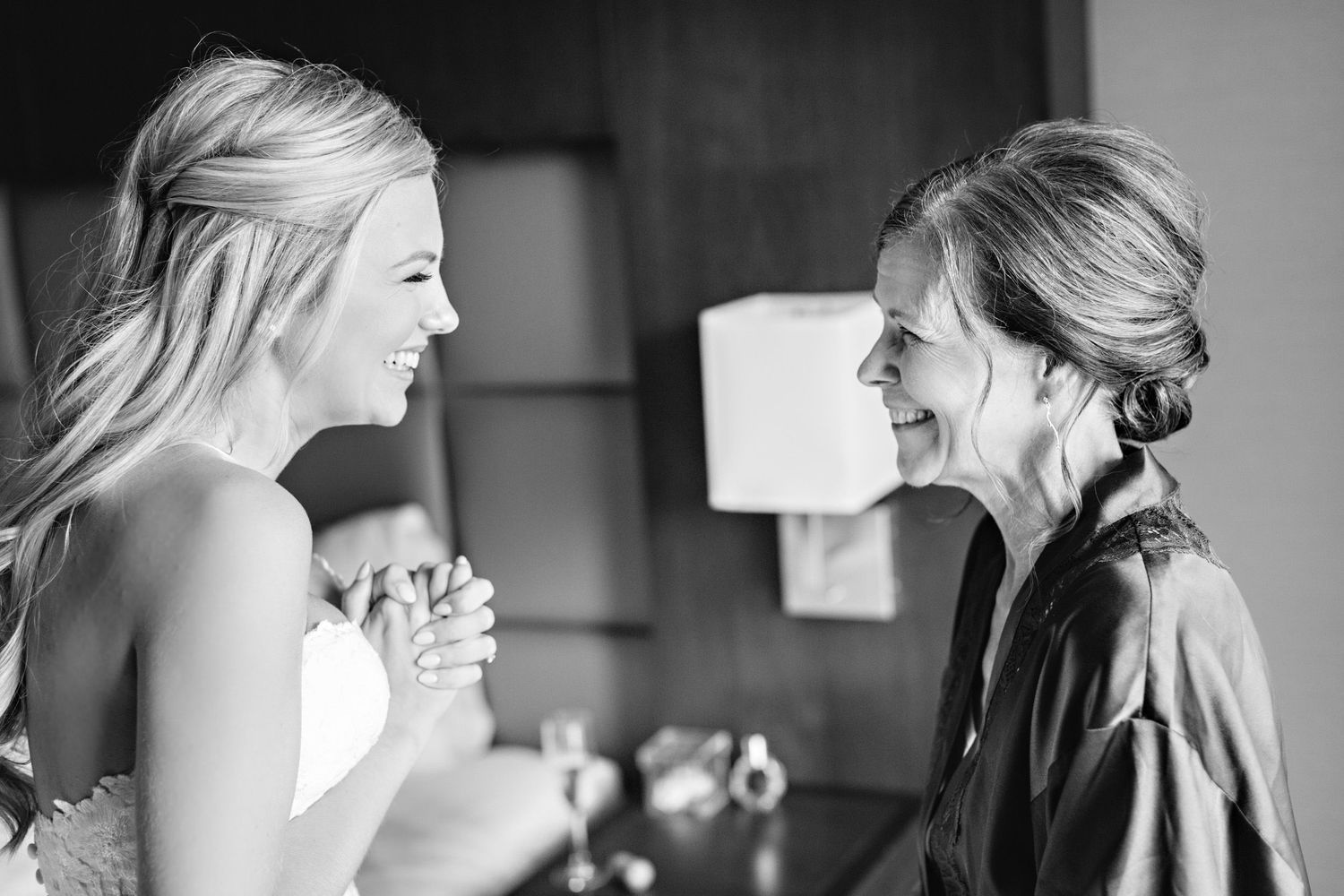 bride and mother of the bride seeing each other