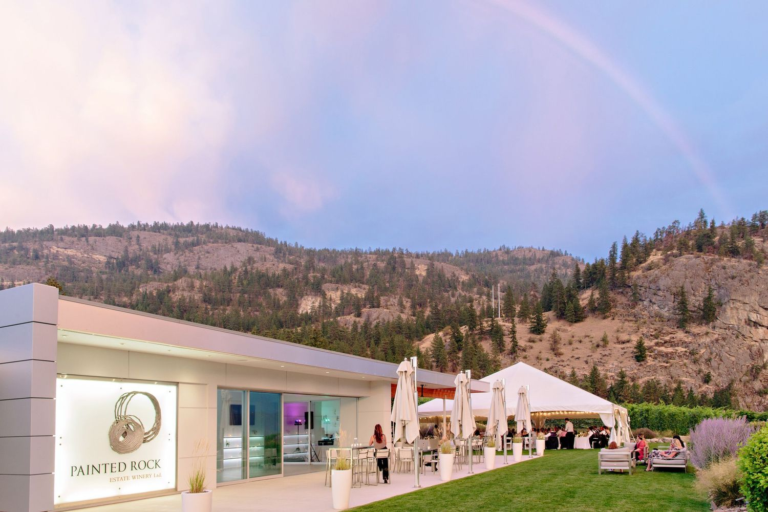 rainbow over vineyard tented reception