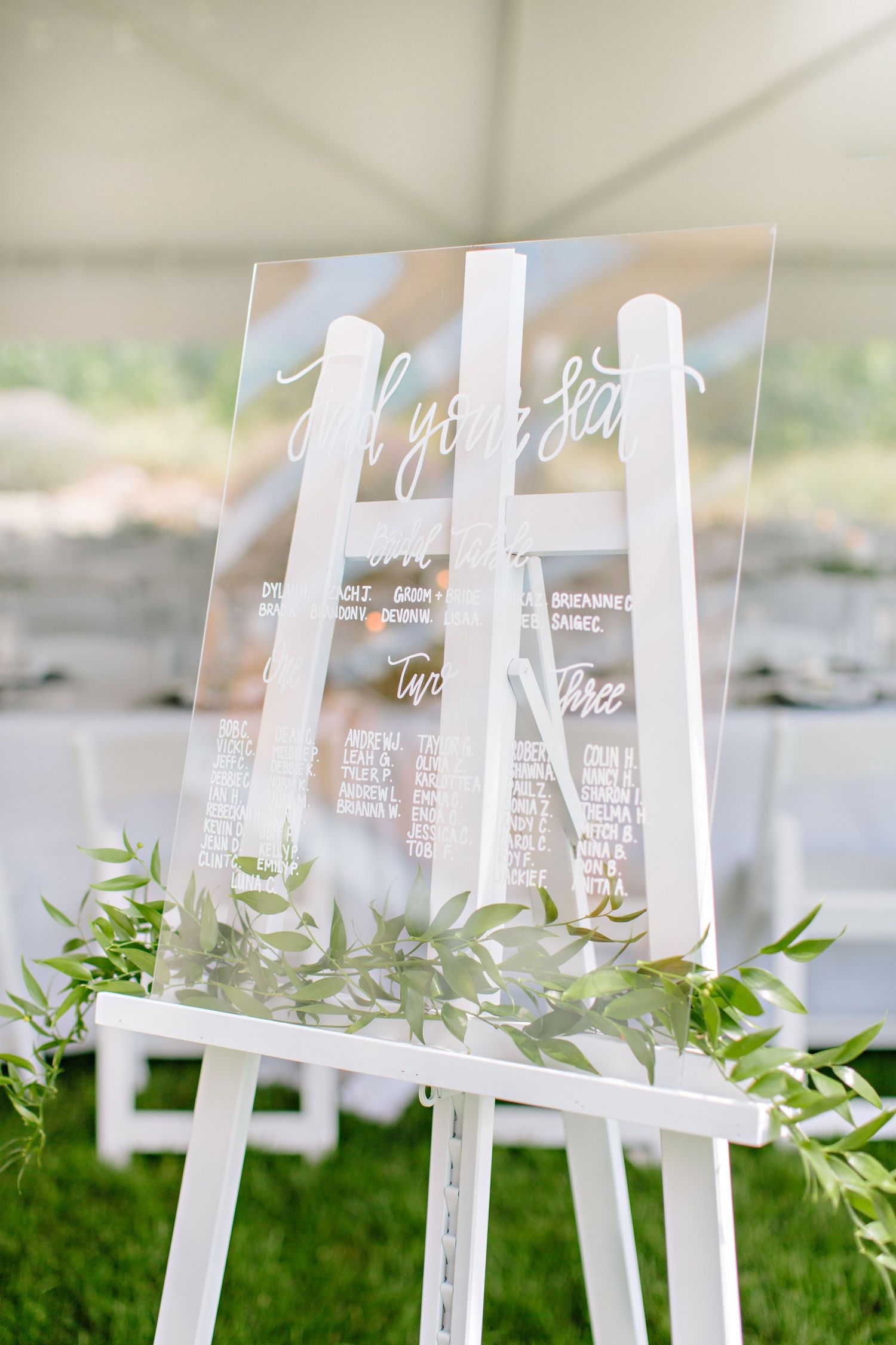 wedding seating chart on clear plexi glass