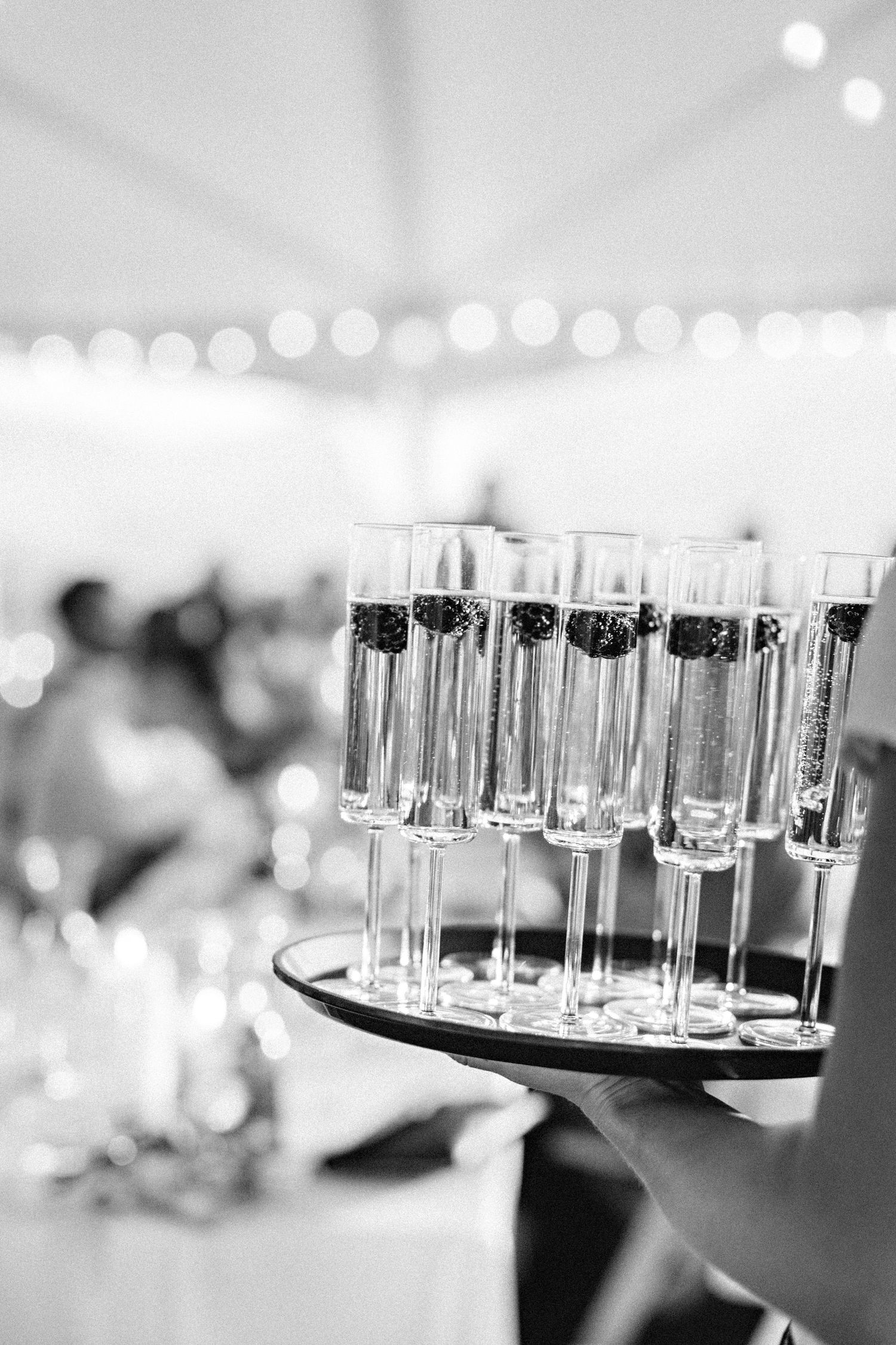 champagne flutes at wedding reception