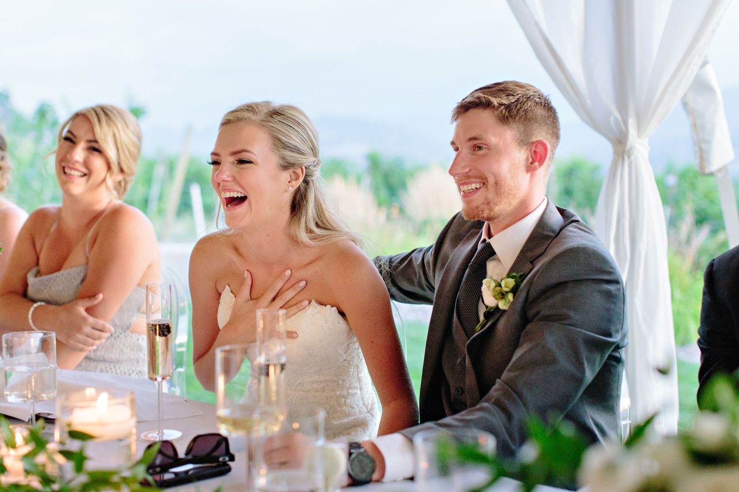 bride and groom reception speeches at painted rock winery