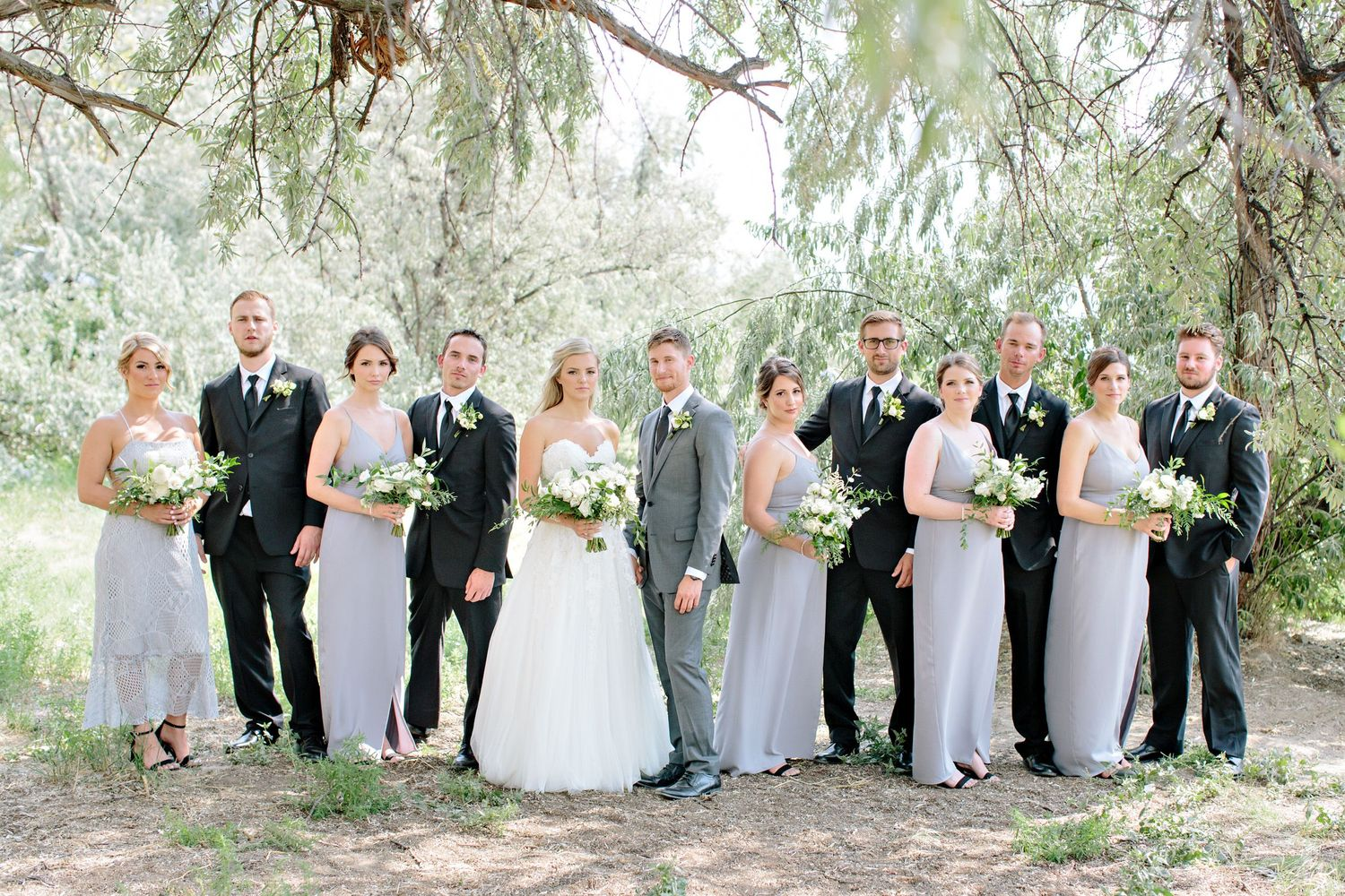 wedding party under olive tree