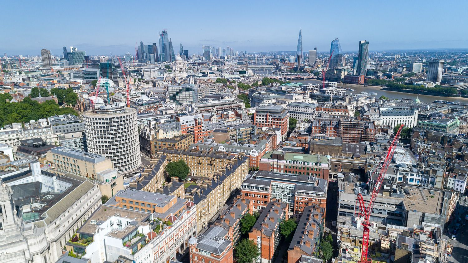 London skyline from drone