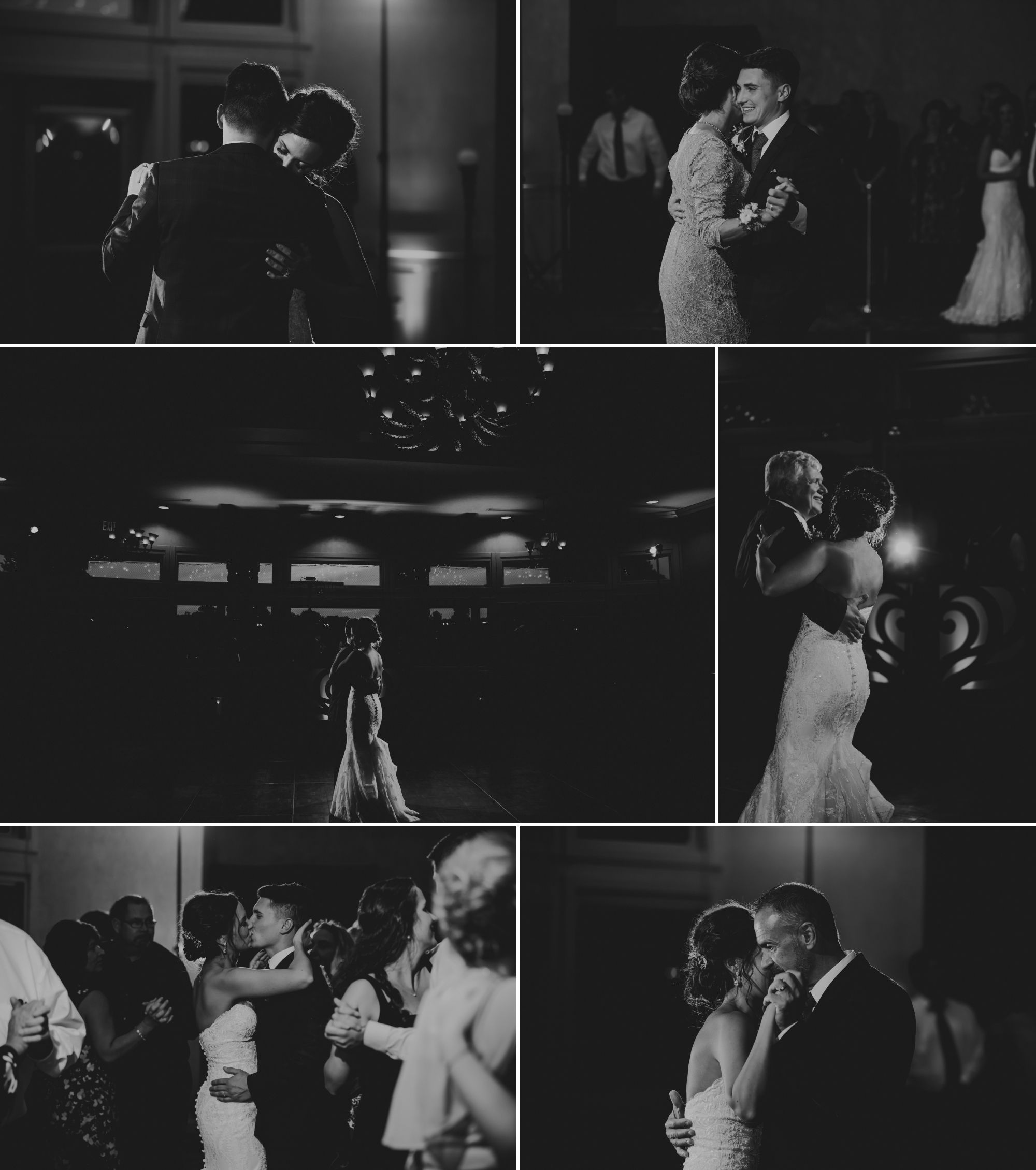 Black and white collage of the formal dances and the bride and groom kissing on the dance floor with people around them.