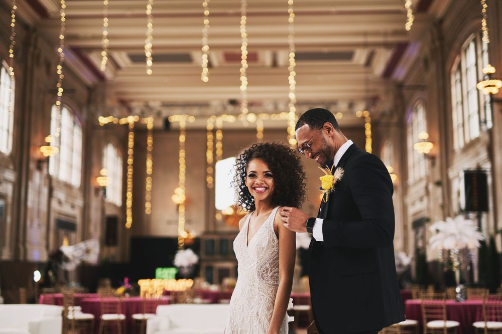 bride and groom first dance at their Kansas City Union Station wedding