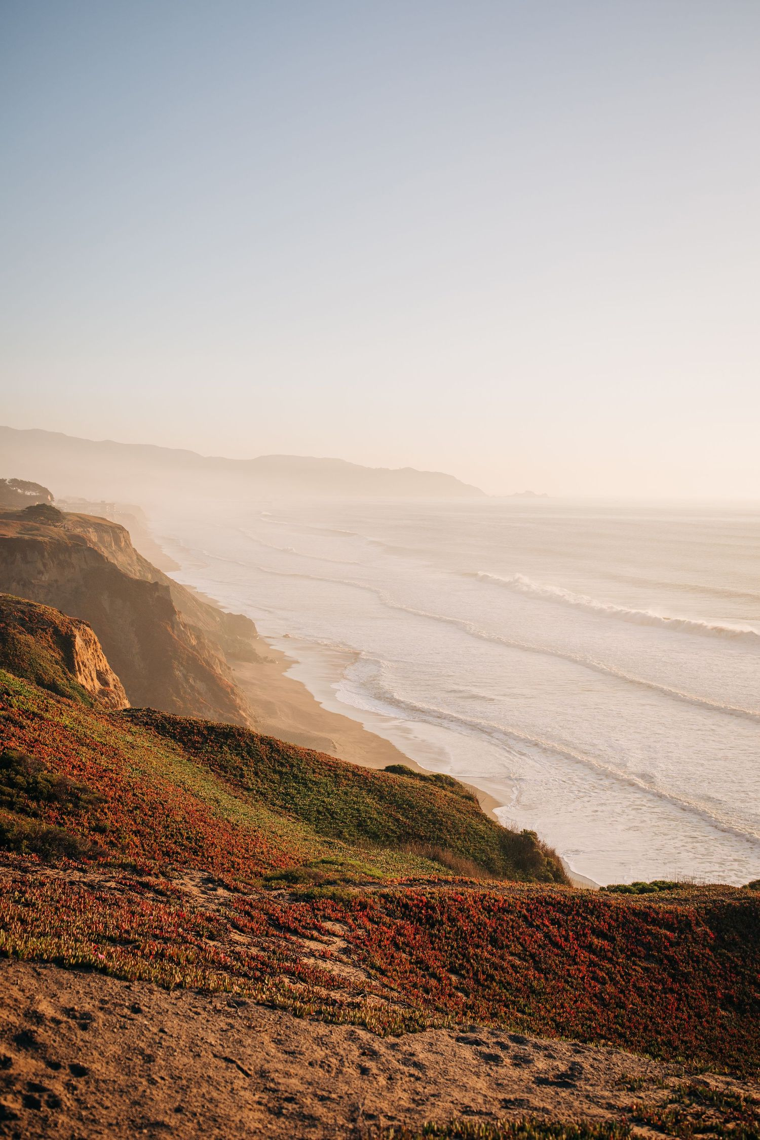 A view of Mussel Rock in Pacifica, California during an engagement photoshoot.