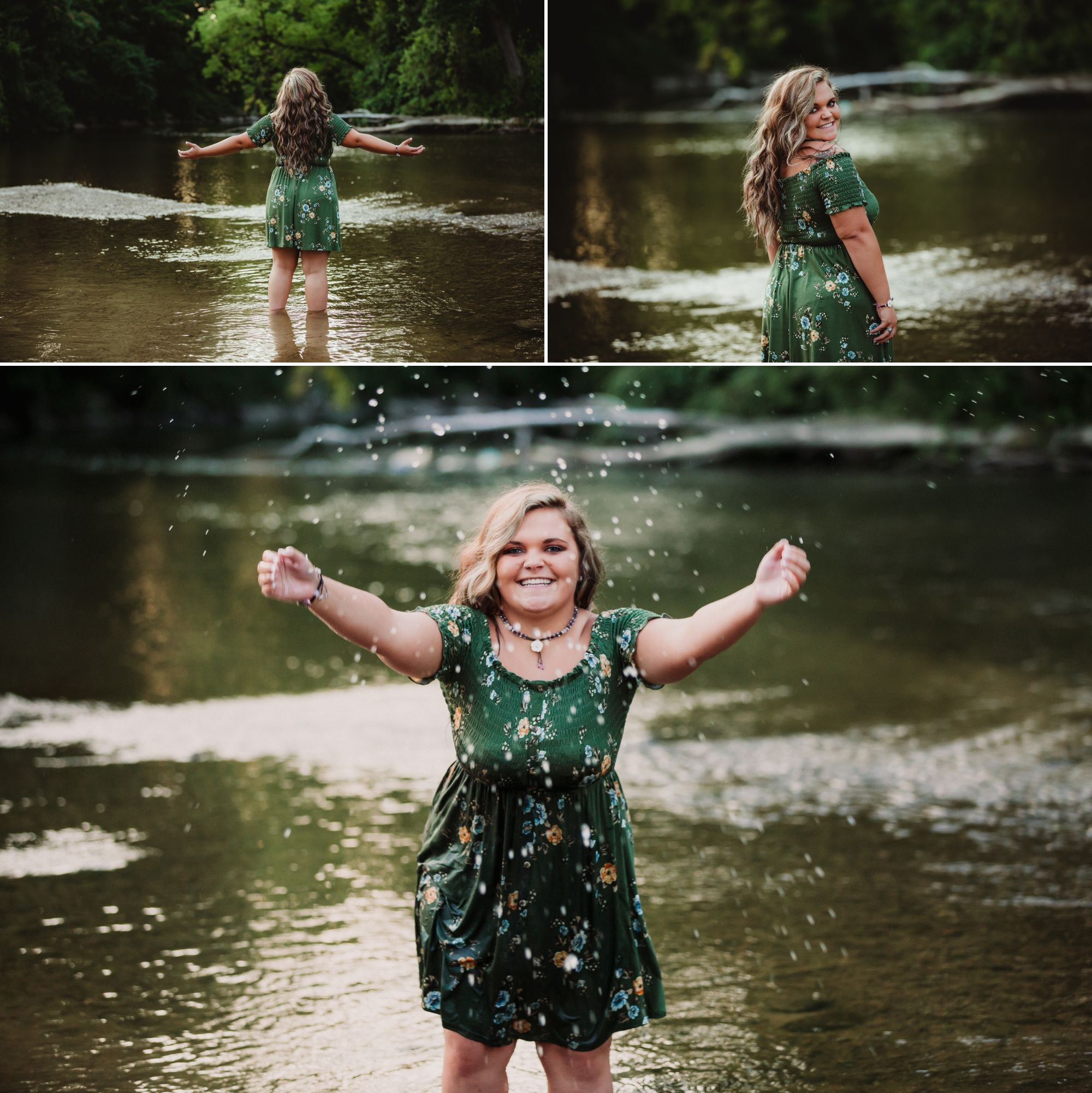 High school senior girl standing in a river and splashing.