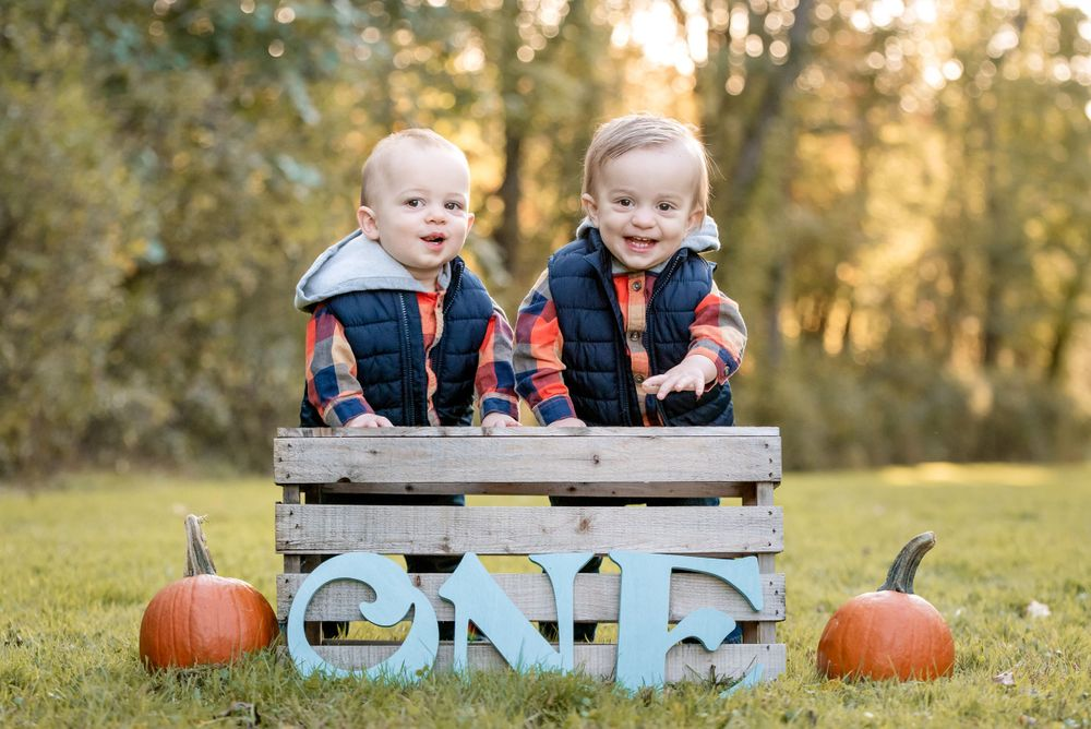fall photos one year old twin boys session at sewickley heights borough park wth sun behind them during golden hour