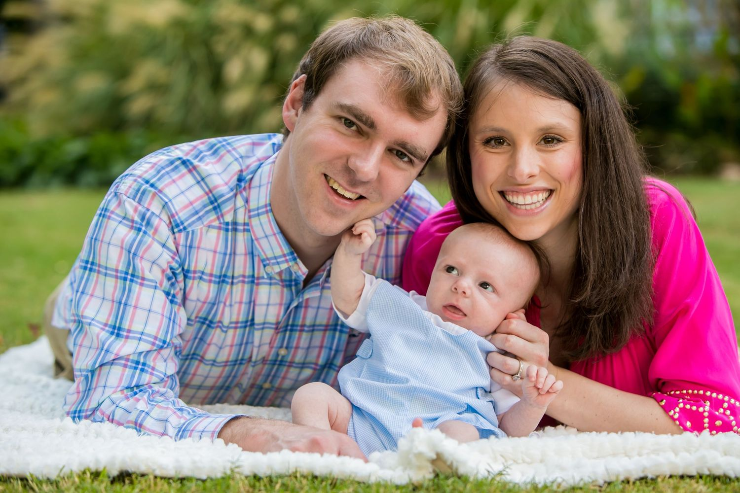 Newborn baby family portrait photo by Columbia, SC, wedding photographer Jeff Blake