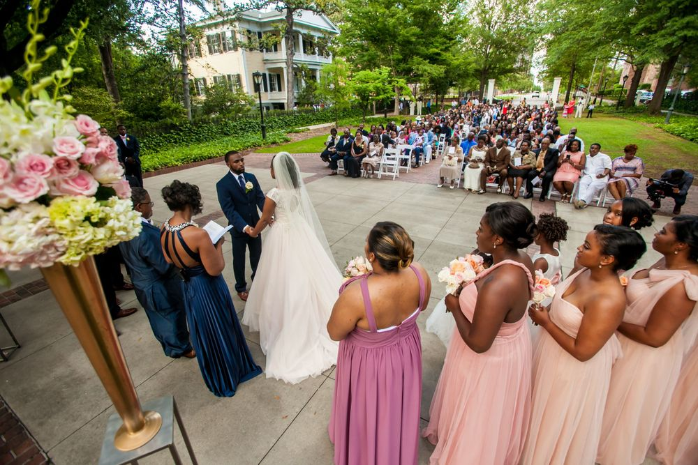 Jamil'ya & Julian's wedding ceremony at the Lace House in Columbia, SC.  Photo by Jeff Blake