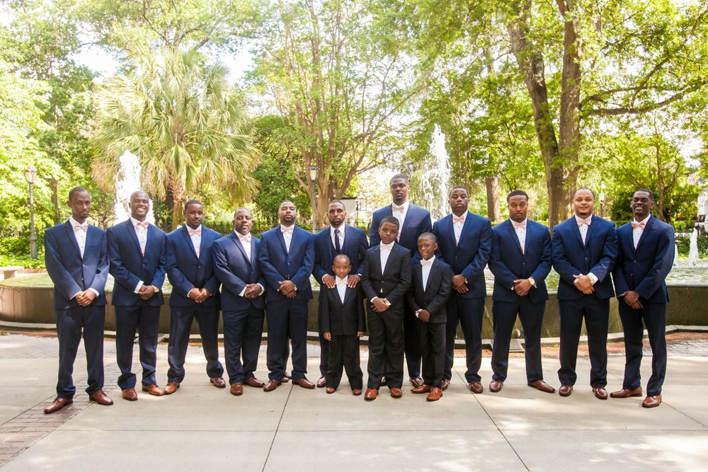 Groom Julian and his groomsmen before his wedding ceremony at the Lace House in Columbia, SC