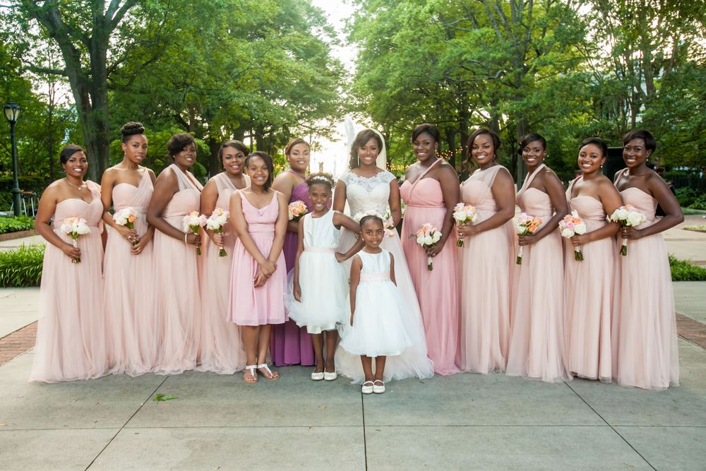 Bride Jamil'ya with her bridesmaids following their wedding ceremony at the Lace House in Columbia, SC