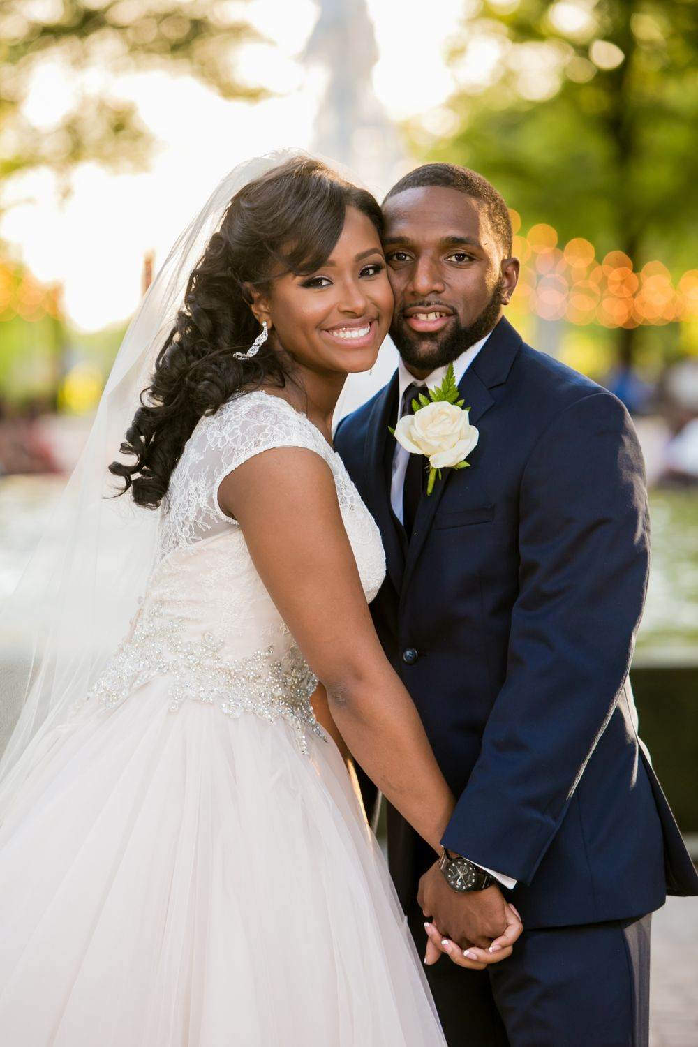 Bride Jamil'ya and groom Julian following their wedding ceremony at the Lace House in Columbia, SC