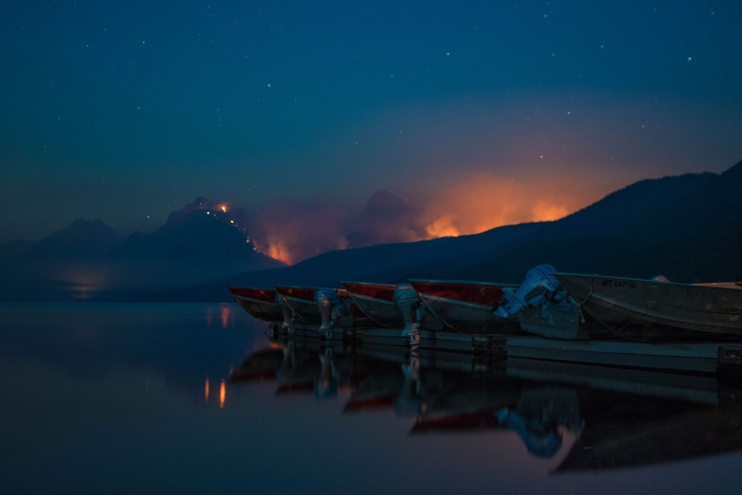 sprague fire in glacier national park from lake McDonald