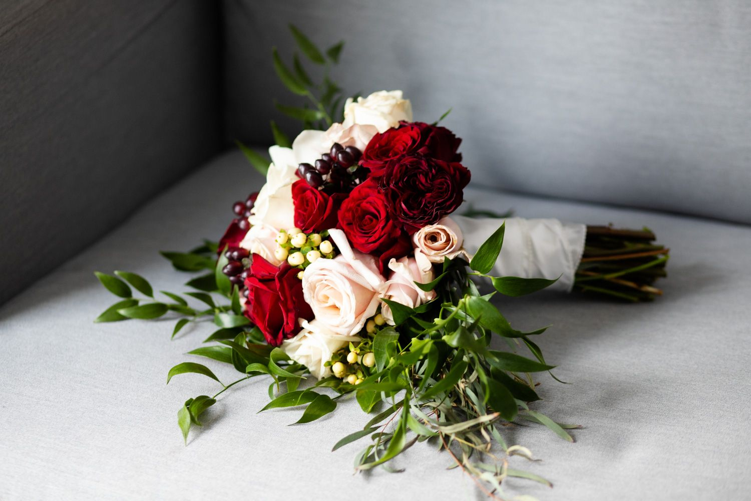 Winter bridal bouquet with berries