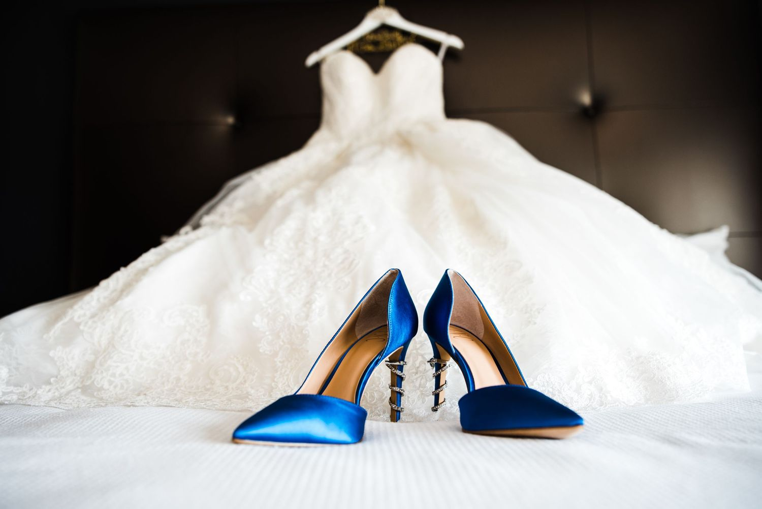 wedding day details bride shoes dress