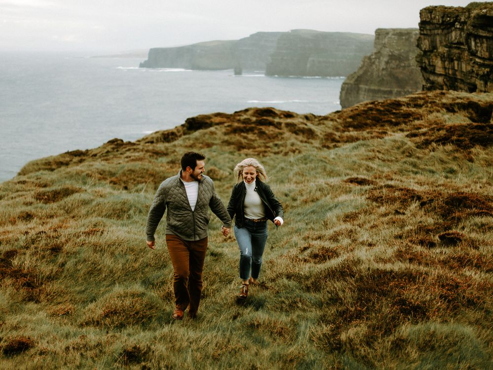 Coastal Engagement photoshoot at Cliffs of Moher in Ireland