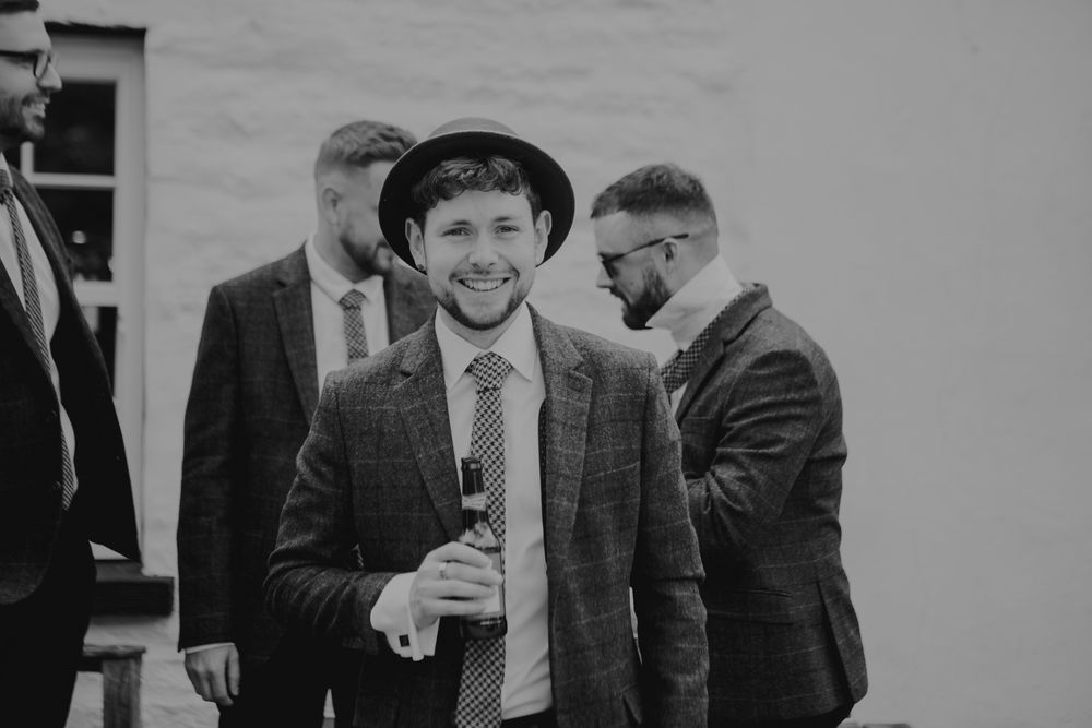 Groom with trilby hat in Kirky Stephen