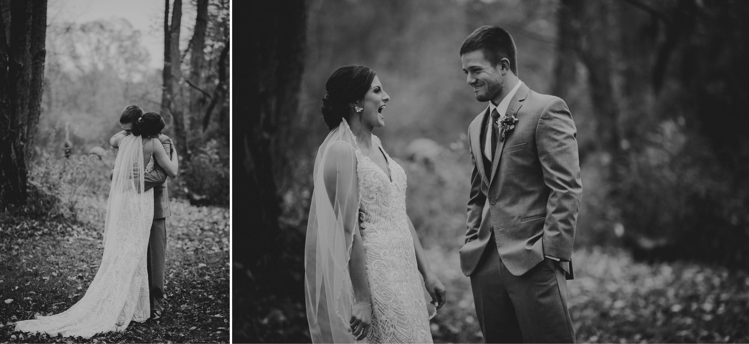 Black and white photos of the bride and groom embracing then laughing.