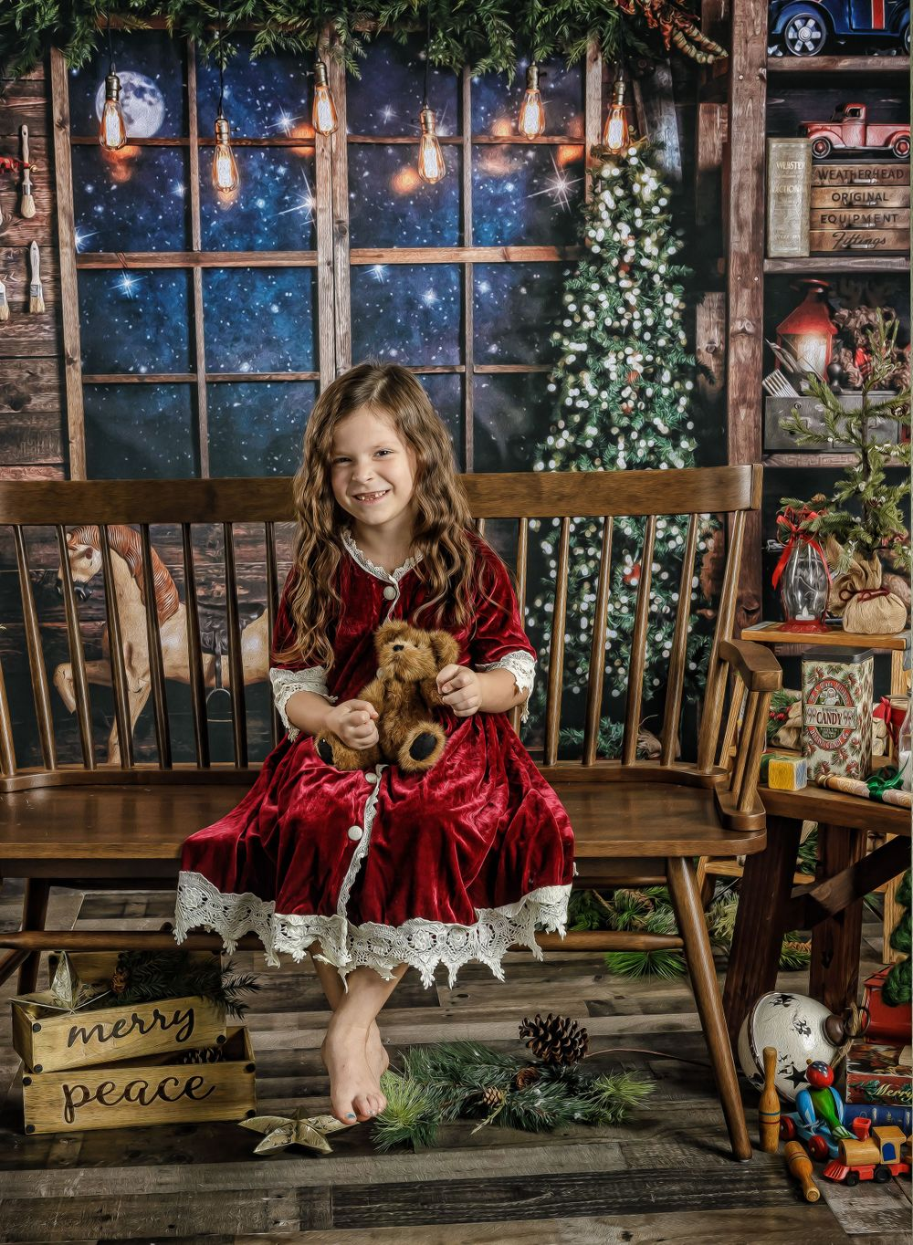 austin newborn photograpy 2020 Magic of the Holidays Limited edition Santa's Magical Workshop with teddy bear