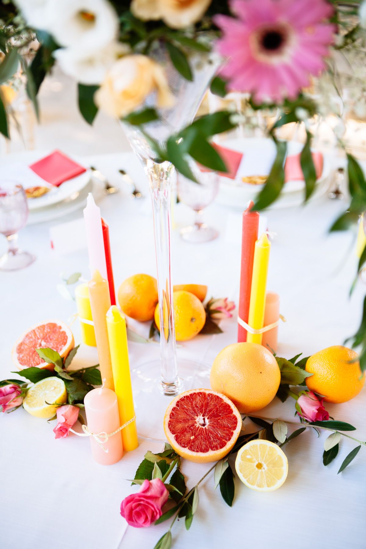 bright and bold tuscan wedding inspiration citrus on table setting