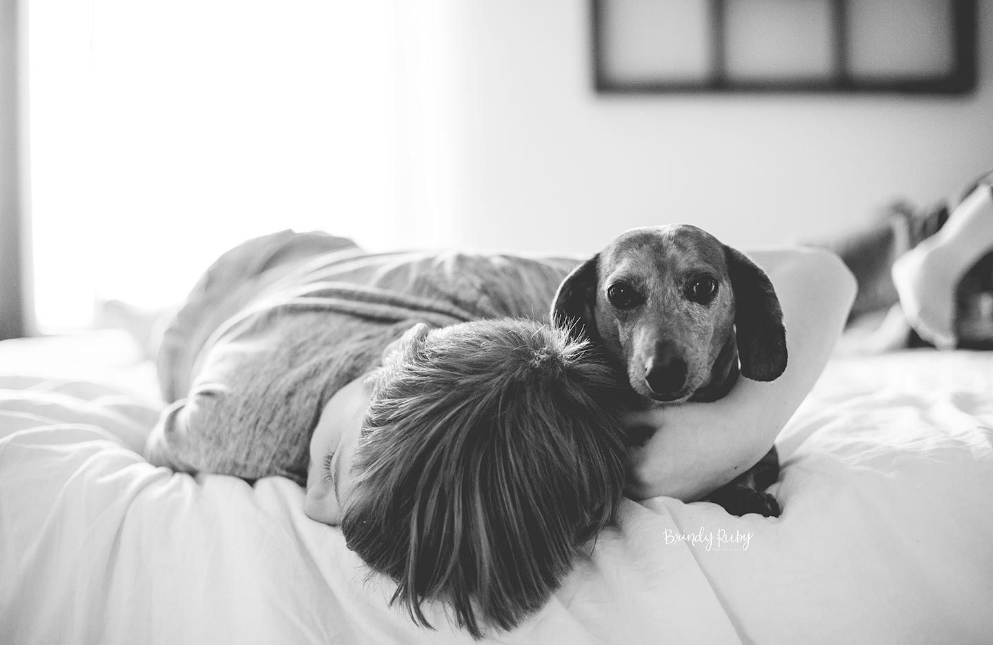 boy and dog snuggling on bed