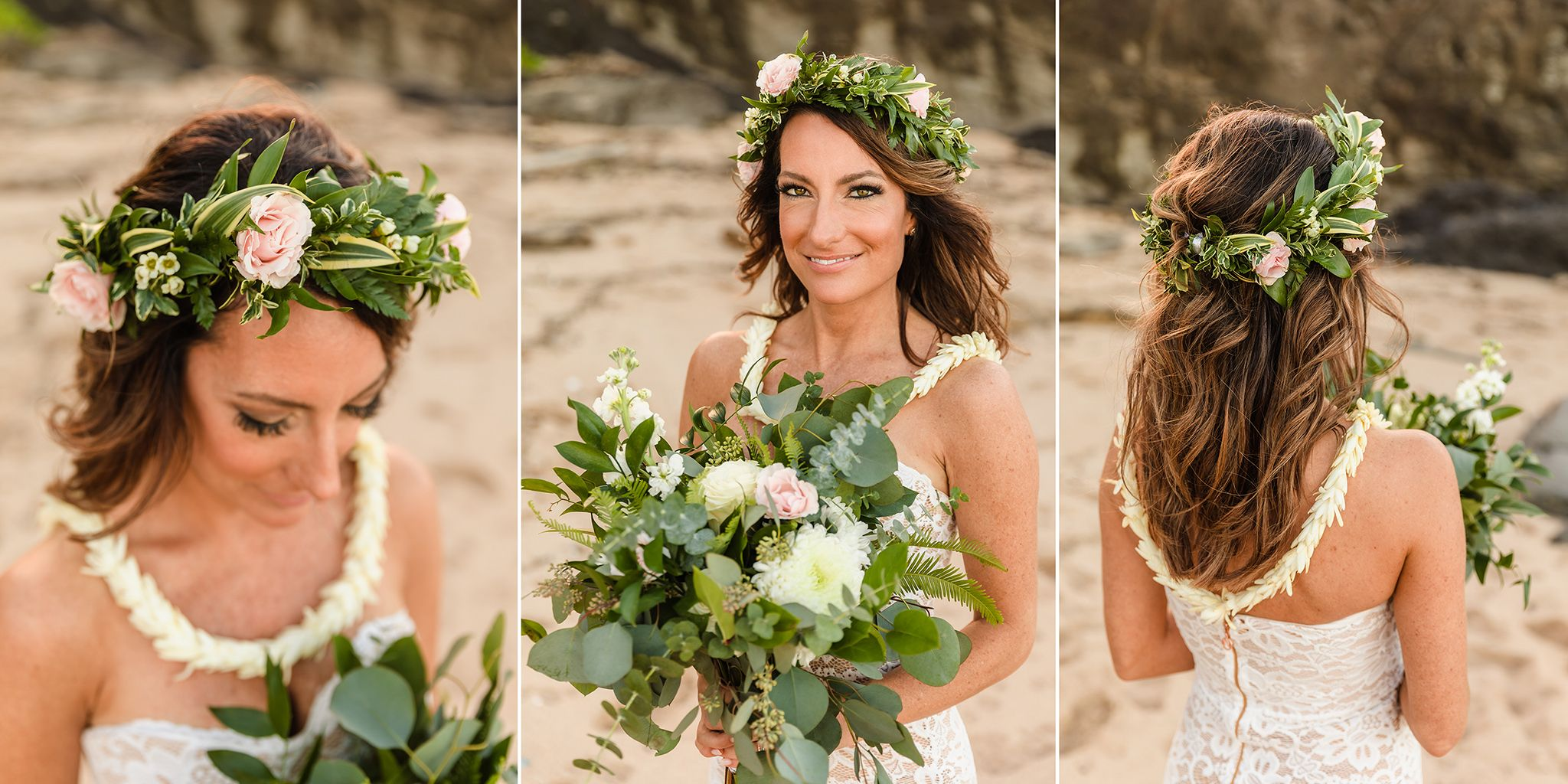 bride portrait and details, hair, haku, flowers