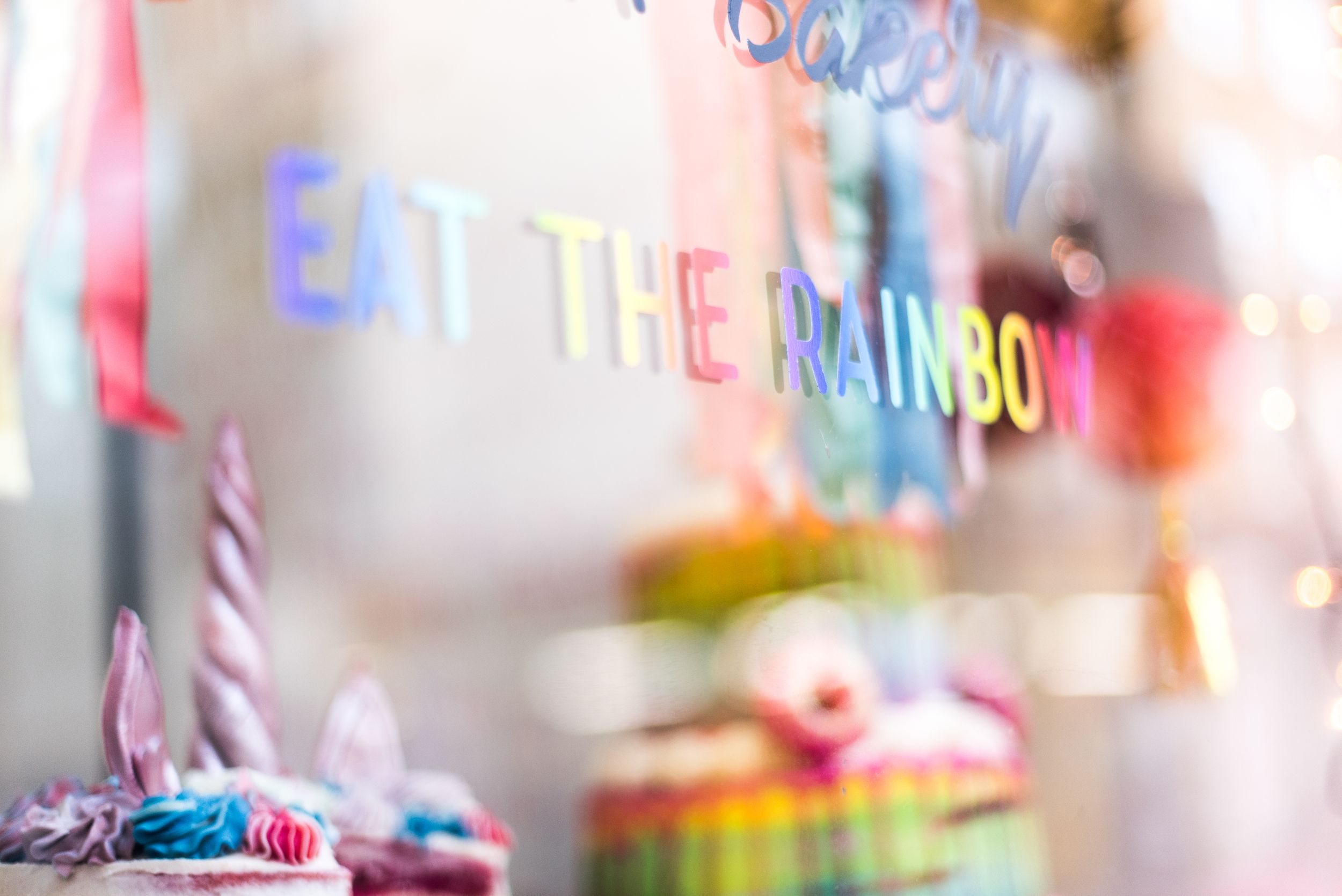 Colorful Eat The Rainbow store window in London