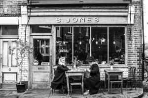 two women having breakfast at S. Jones in London's Shoreditch neighborhood near Columbia Road Flower Market