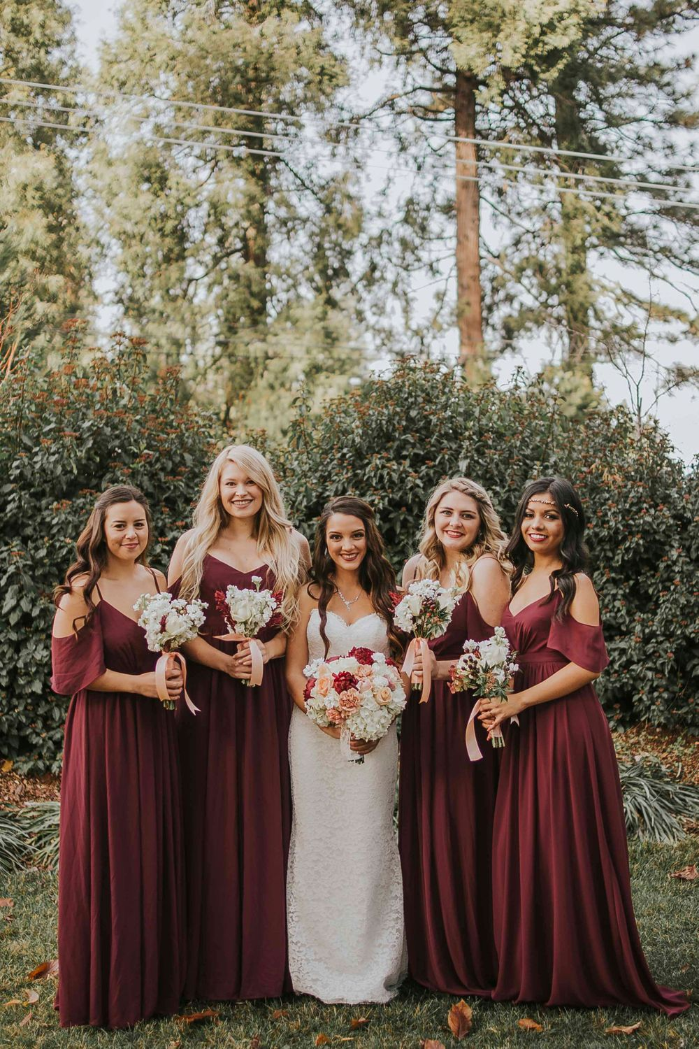 rebecca skidgel photography placerville winter wedding bride and bridesmaids smiling