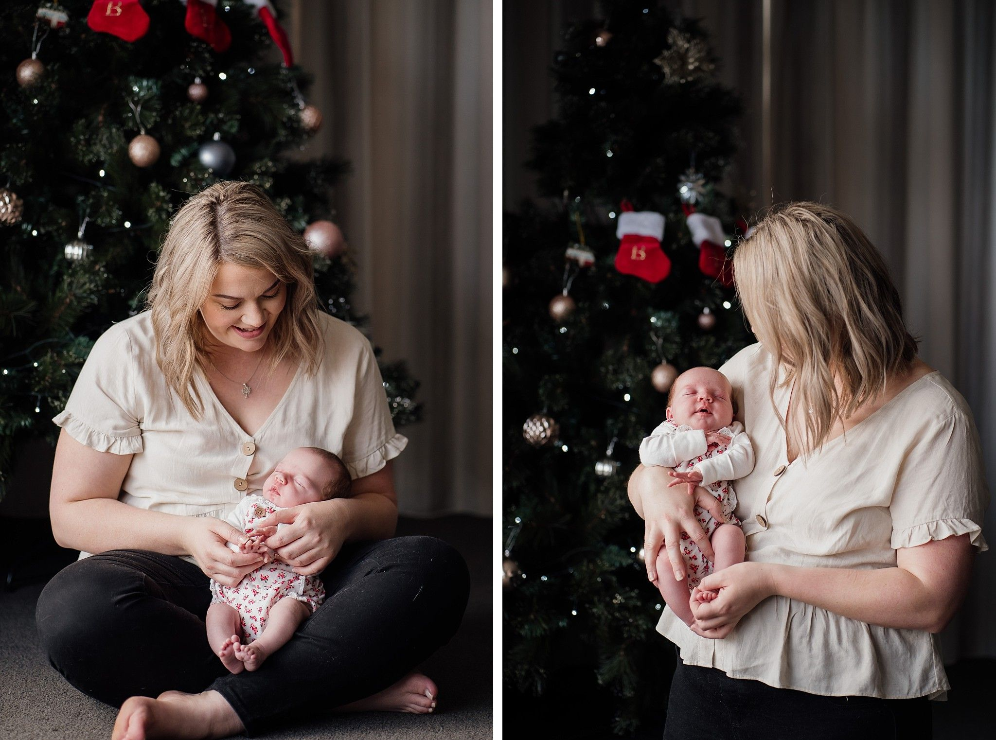 mum and baby girl by christmas tree