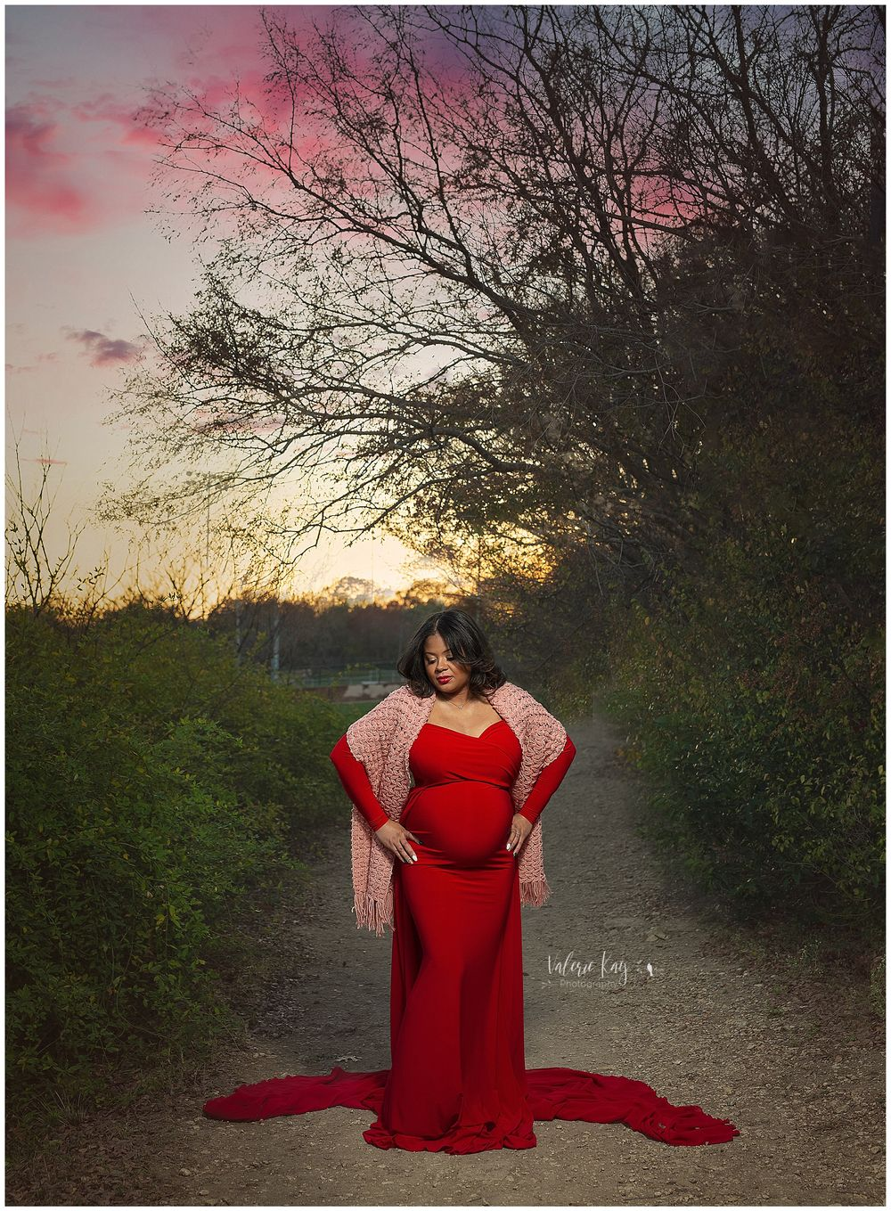 Austin Newborn Photography Maternity Portrait Modern maternity outdoor dramatic sunset skies