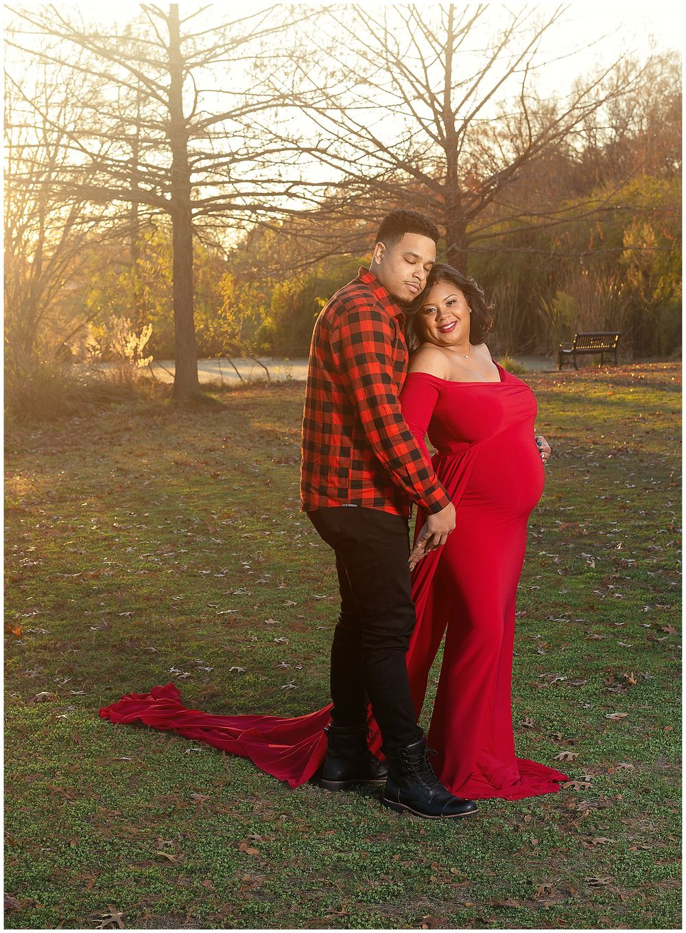 Austin Newborn Photography Maternity Portrait Modern outdoors sunset portrait in red