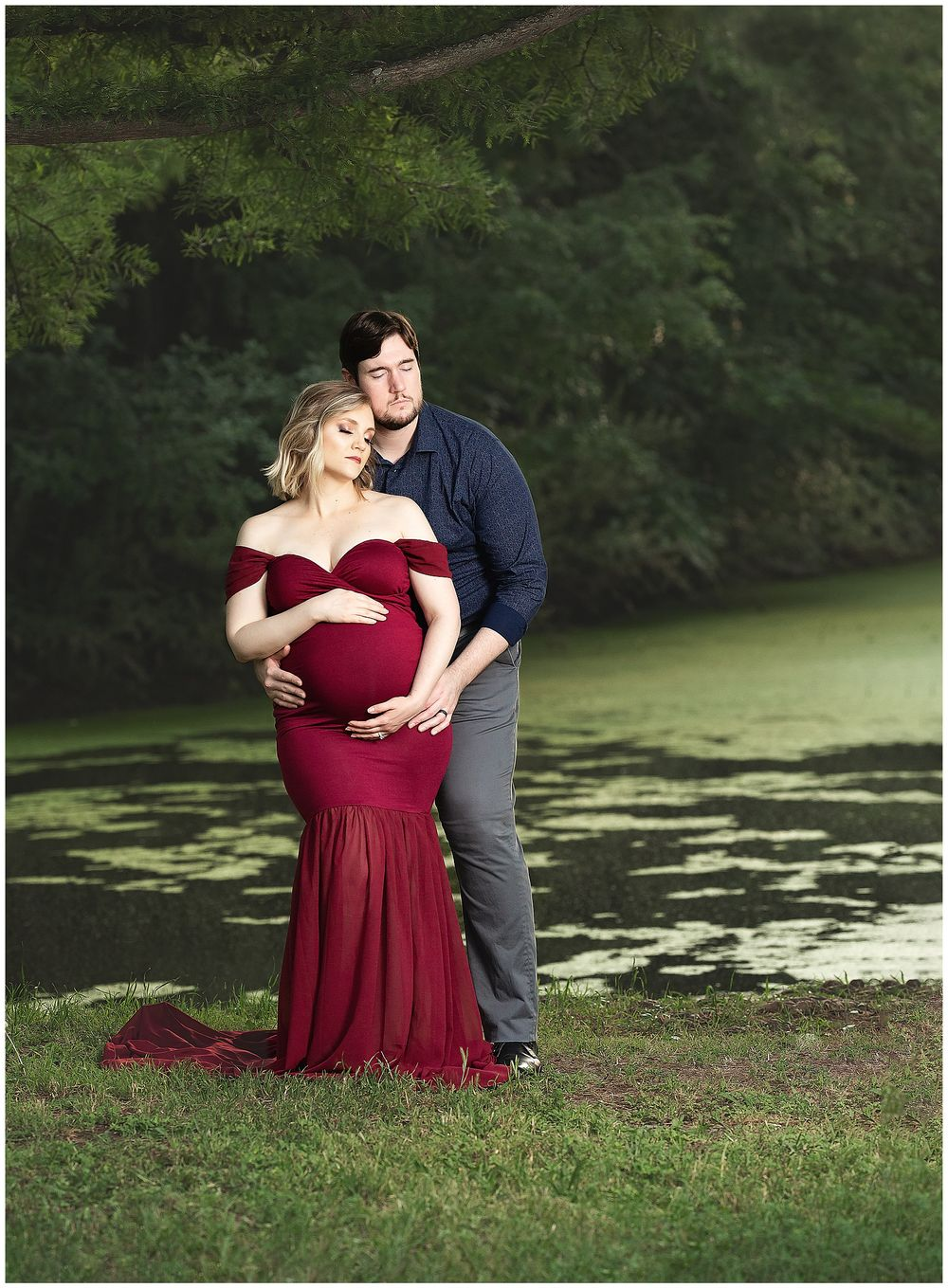 Austin Newborn Photography Maternity Portrait Modern maternity outdoor by pond wine monroe gown