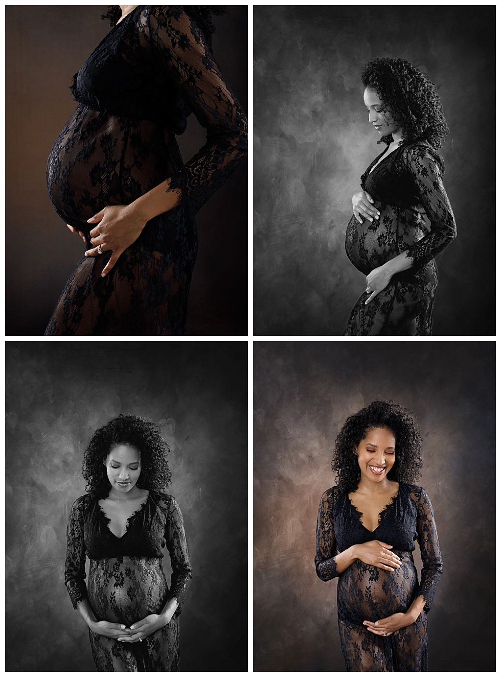 Austin Newborn Photography Maternity Portrait Modern maternity black lace gown collage