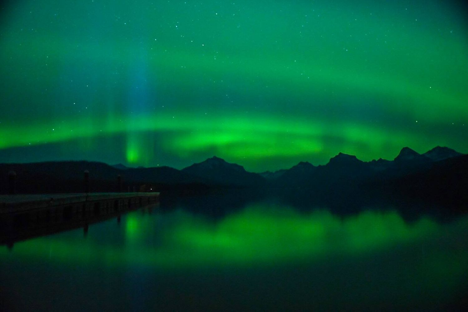 Northern lights from lake McDonald may 2017