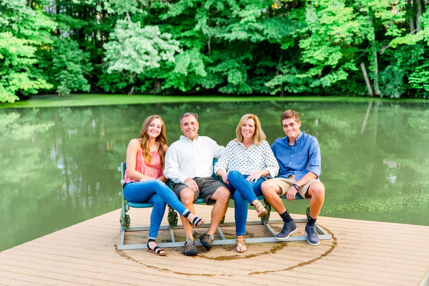 family photos, deck, pond, seated, outdoors, summer, Cincinnati OH