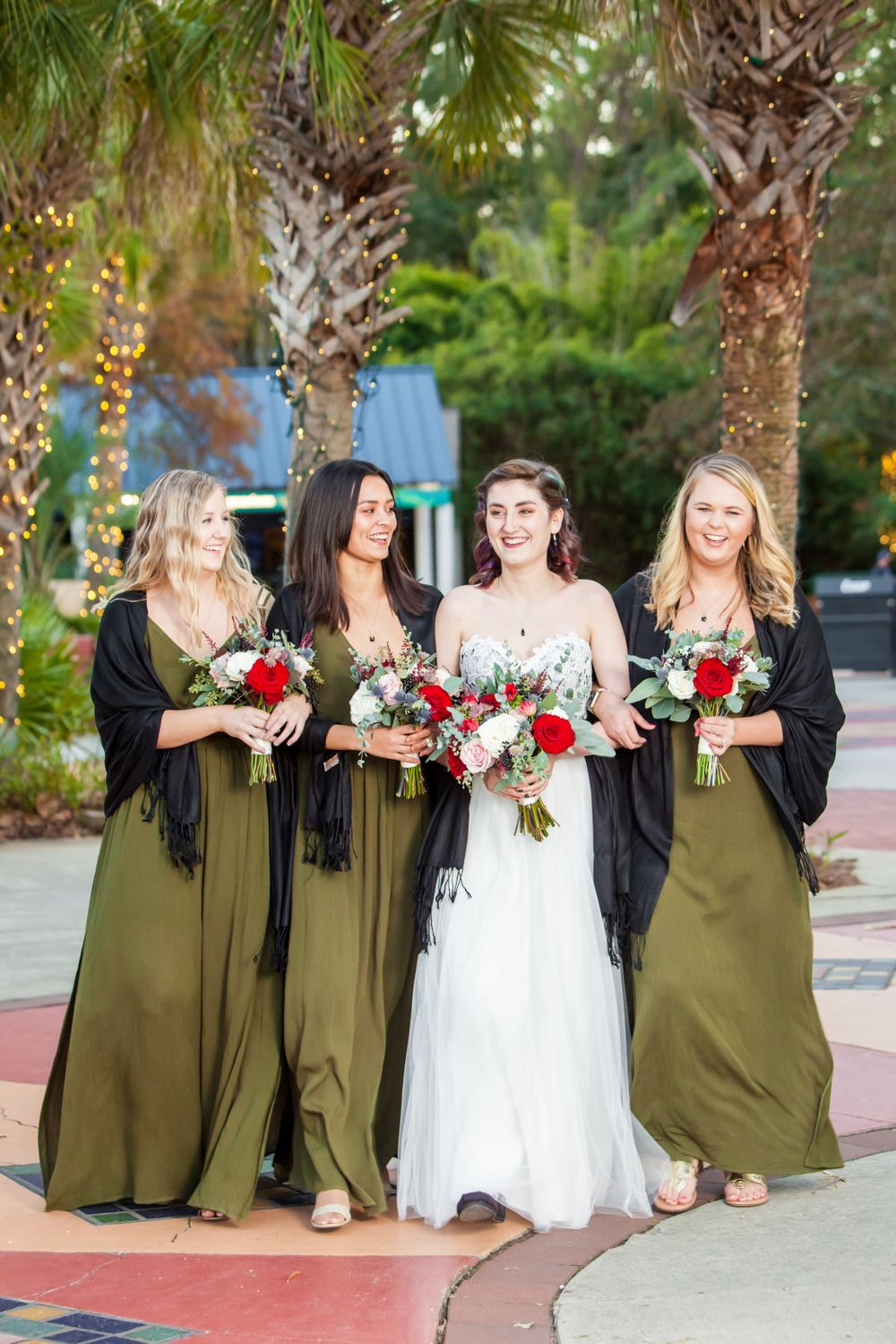 Bride and bridesmaids portraits before their wedding ceremony at Riverbanks Zoo in Columbia, SC