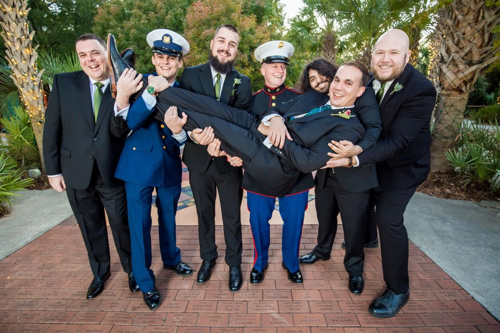 Groom and groomsmen portrait before the wedding ceremony at Riverbanks Zoo in Columbia, SC