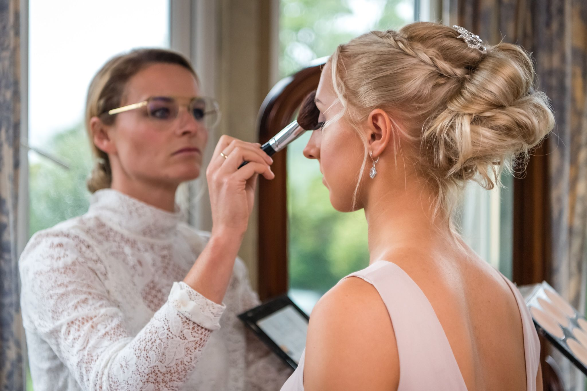 Bridesmaid makeup at Langdale Chse wedding