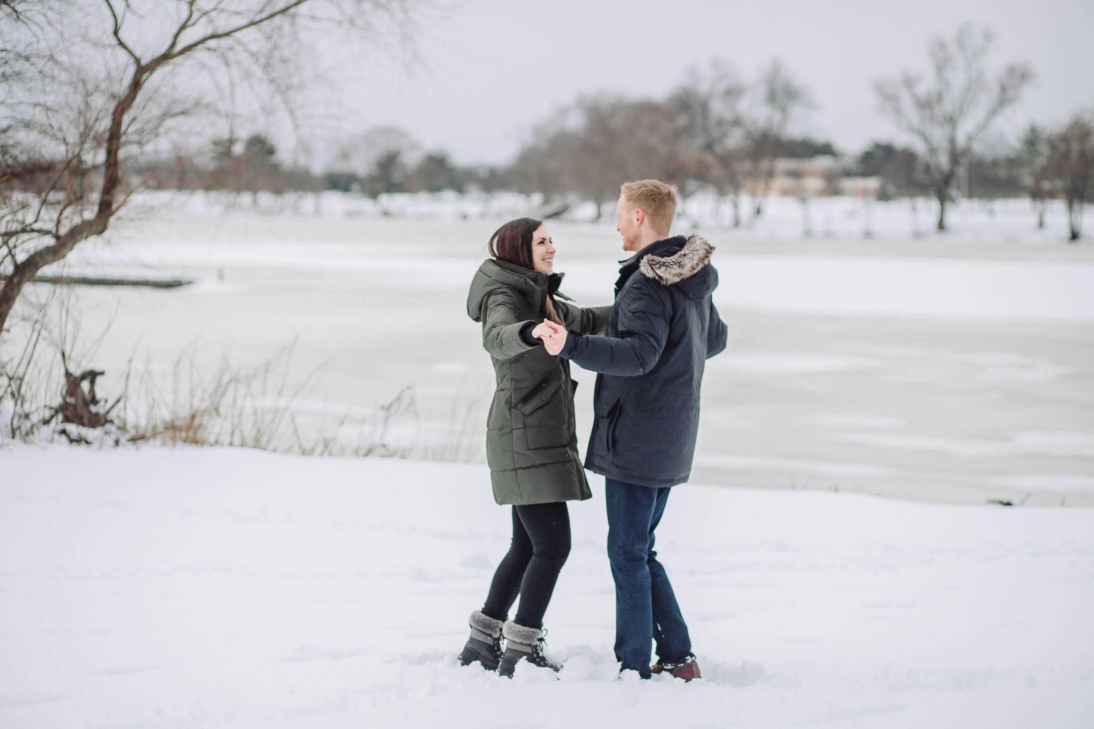 Couple dancing at Cooper River Park with Collingswood engagement photographer.